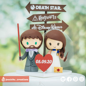 Jedi Groom and Ravenclaw Bride Wedding Cake Topper | Star Wars x Harry Potter | Jessichu Creations