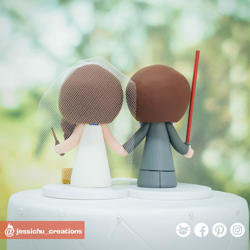 Simple Jedi Groom & Harry Potter Ravenclaw Bride Inspired Star Wars x HP Custom Wedding Cake Topper | Wedding Cake Toppers | Cake Topper Gallery | Jessichu Creations