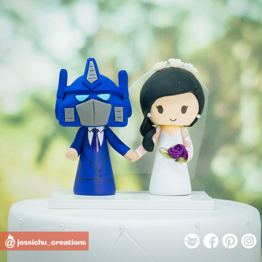 Optimus Prime & Bride | Transformers | Custom Handmade Wedding Cake Topper Figurines | Jessichu Creations