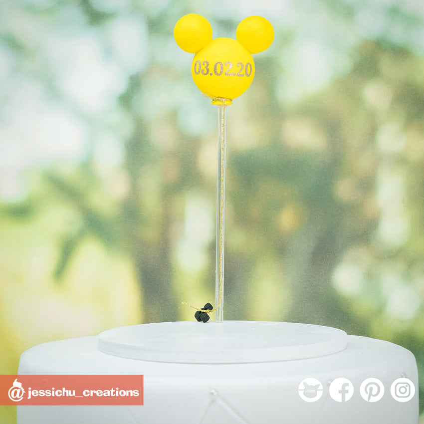 Mickey Balloon | Disney | Signs | Custom Handmade Wedding Cake Topper Figurines | Jessichu Creations