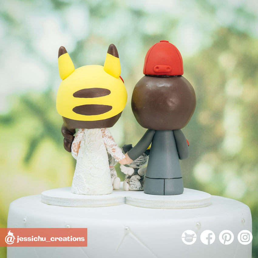 Ash Ketchum & Pikachu Inspired Nintendo Pokemon Custom Handmade Wedding Cake Topper | Wedding Cake Toppers | Cake Topper Gallery | Jessichu Creations