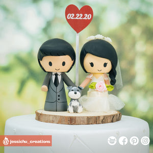 Cute Bride & Groom with Pet Dog | Custom Handmade Wedding Cake Topper Figurines | Jessichu Creations