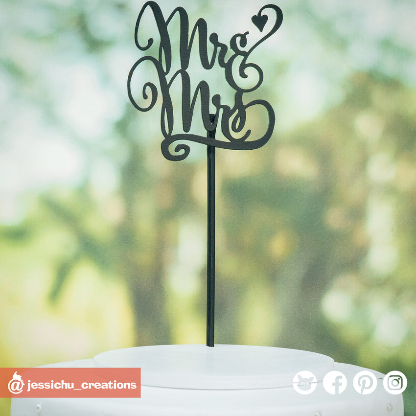 Mr & Mrs Cutout Sign | Custom Handmade Wedding Cake Topper Figurines | Jessichu Creations