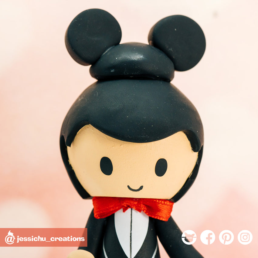 Disney Mickey Groom & Chinese Bride Custom Handmade Wedding Cake Topper | Wedding Cake Toppers | Cake Topper Gallery | Jessichu Creations