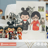 Disney Mickey Groom & Chinese Bride | Custom Handmade Wedding Cake Topper Figurines | Jessichu Creations