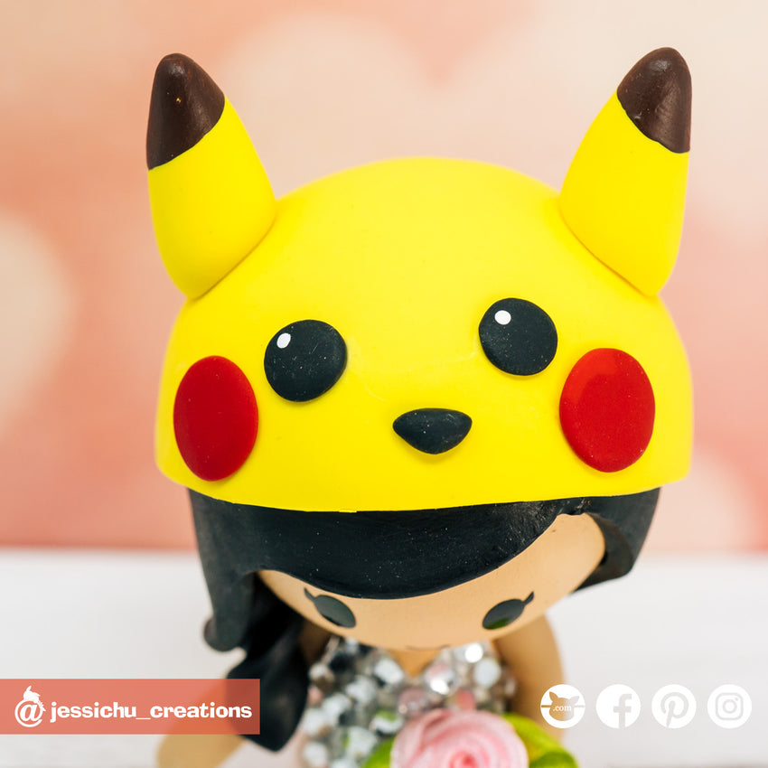 Batman Groom & Pikachu Bride Inspired DC x Pokemon Custom Handmade Wedding Cake Topper | Wedding Cake Toppers | Cake Topper Gallery | Jessichu Creations