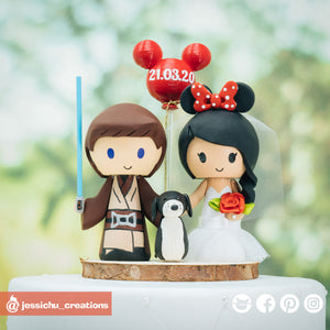 Jedi Groom & Minnie Mouse Bride Inspired Disney x Star Wars | Wedding Cake Toppers | Cake Topper Gallery | Jessichu Creations