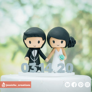Adorable Simple Couple Custom Handmade Wedding Cake Topper Figurines