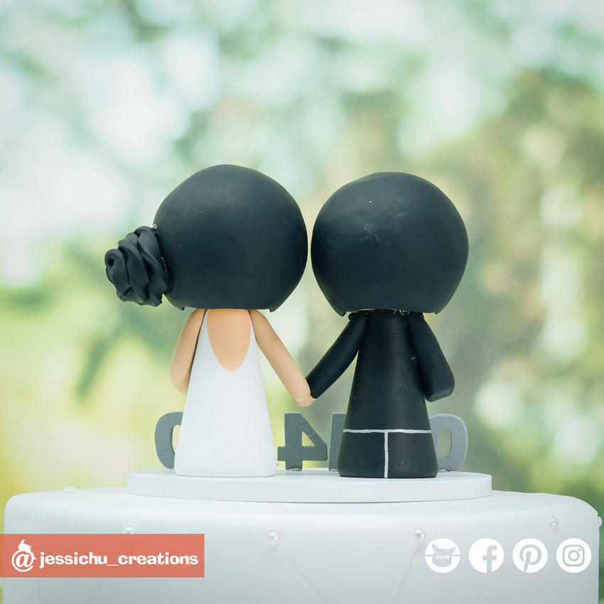 Adorable Simple Couple Custom Handmade Wedding Cake Topper Figurines | Wedding Cake Toppers | Cake Topper Gallery | Jessichu Creations