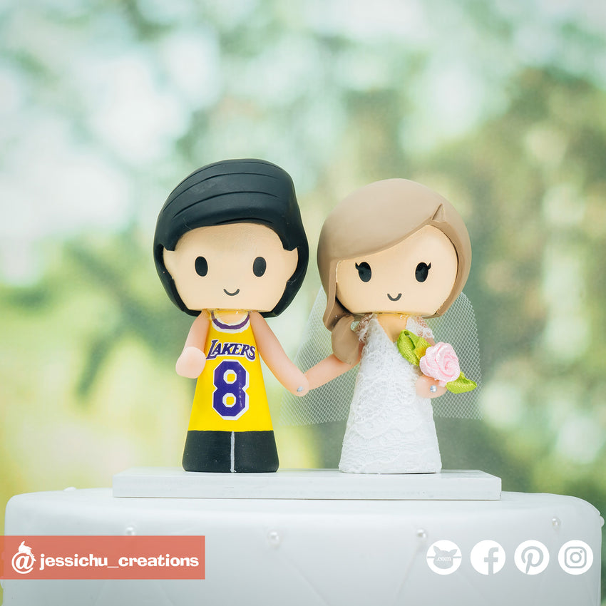 Kobe Bryant Lakers Fan & Bride Custom Handmade Wedding Cake Topper | Jessichu Creations