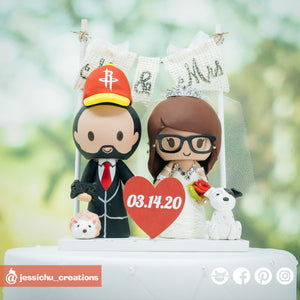 Rockets Fan Groom & Bride | Custom Handmade Wedding Cake Topper | Jessichu Creations