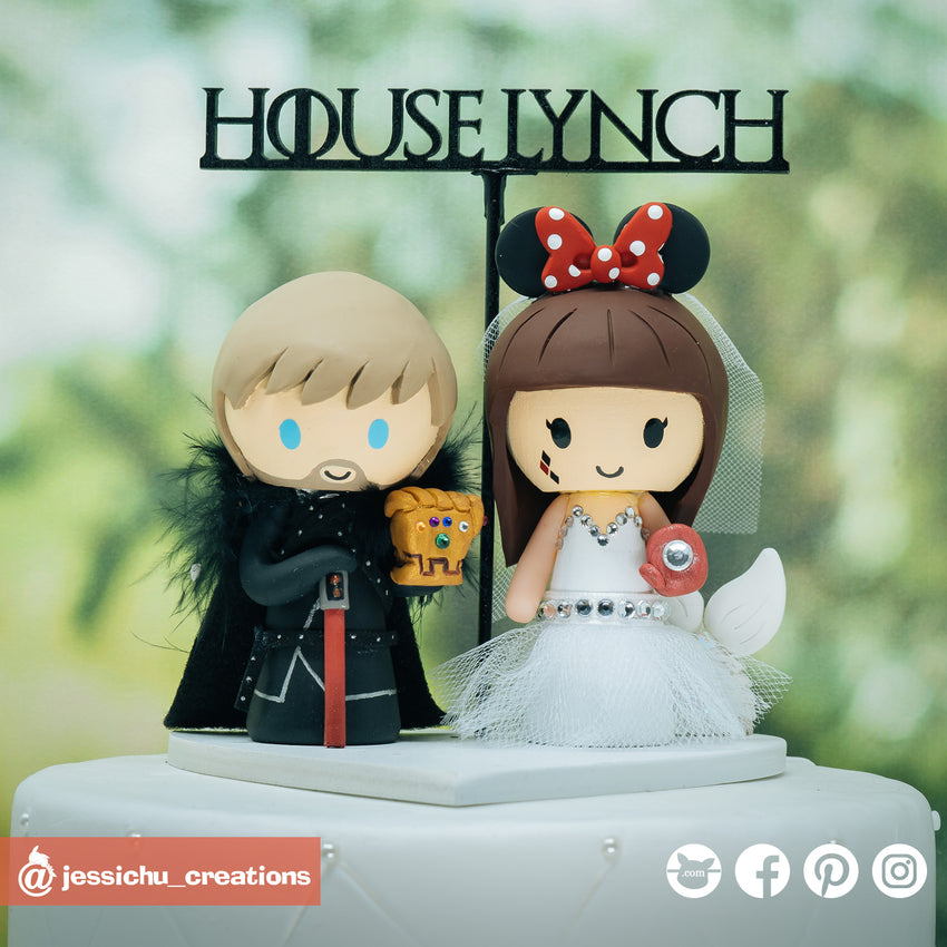 Geeky Couple | Disney x GOT x Marvel | Custom Handmade Wedding Cake Topper | Jessichu Creations