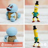 Squirtle & Mr Poopybutthole | Pokemon x Rick & Morty | Custom Handmade Wedding Cake Topper | Jessichu Creations