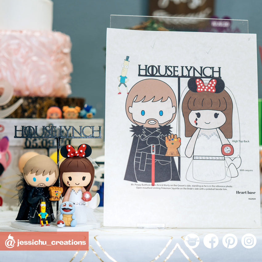 Geeky Couple | Disney x GOT x Marvel x Pokemon x Rick & Morty | Custom Handmade Wedding Cake Topper | Jessichu Creations