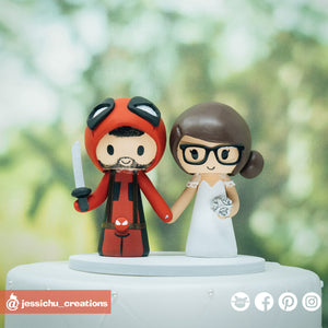 Deadpool & Bride | Custom Handmade Wedding Cake Topper | Jessichu Creations