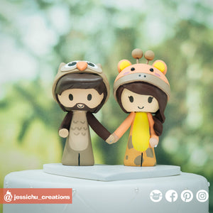 Owl & Giraffe | Custom Handmade Wedding Cake Topper | Jessichu Creations