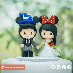 Disney Inspired Wizard Mickey & Minnie Mouse | Custom Handmade Wedding Cake Topper Figurines | Jessichu Creations