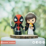 Deadpool & Harry Potter Gryffindor | Marvel x HP | Custom Handmade Wedding Cake Topper | Jessichu Creations