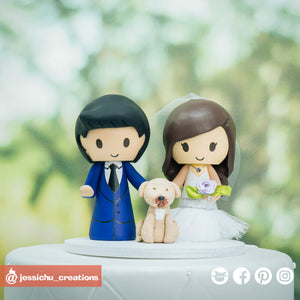 Adorable Simple Bride and Groom Custom Handmade Wedding Cake Topper Figurines