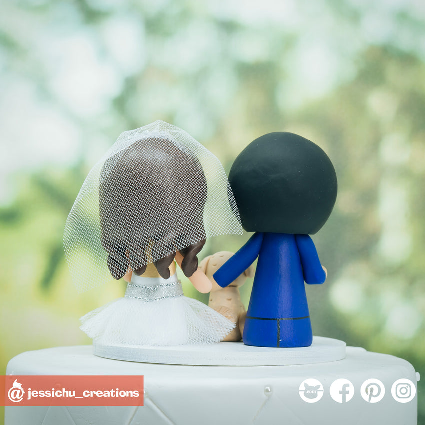 Adorable Simple Bride and Groom Custom Handmade Wedding Cake Topper Figurines | Wedding Cake Toppers | Cake Topper Gallery | Jessichu Creations