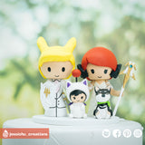 Final Fantasy Inspired Family | Custom Handmade Wedding Cake Topper | Jessichu Creations