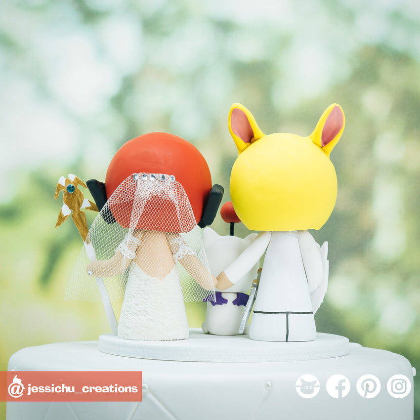 Final Fantasy Inspired Family Custom Handmade Wedding Cake Topper Figurine | Wedding Cake Toppers | Cake Topper Gallery | Jessichu Creations
