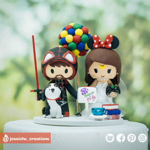 Miles Morales & Minnie Mouse | Disney x Marvel | Custom Handmade Wedding Cake Topper | Jessichu Creations