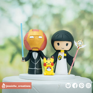 Ironman & Harry Potter Hufflepuff | Marvel x HP | Custom Handmade Wedding Cake Topper | Jessichu Creations