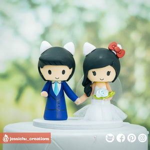 Dear Daniel & Hello Kitty | Custom Handmade Wedding Cake Topper | Jessichu Creations