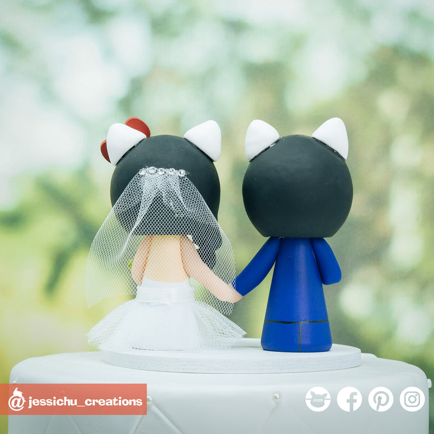 Dear Daniel & Hello Kitty Inspired Couple Custom Made Figurine Wedding Cake Topper | Wedding Cake Toppers | Cake Topper Gallery | Jessichu Creations