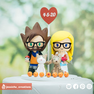Goku & Togepi | Dragon Ball Z x Pokemon | Custom Handmade Wedding Cake Topper | Jessichu Creations