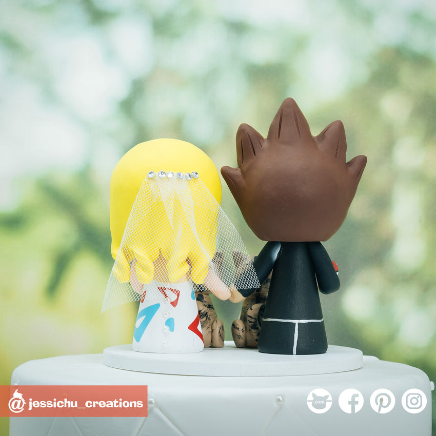 Goku Groom & Togepi Bride Inspired Dragon Ball Z x Pokemon Wedding Cake Topper