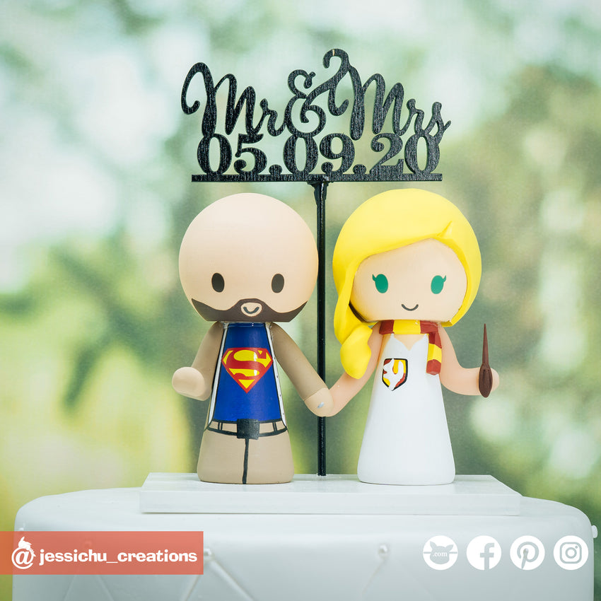 Superman & Harry Potter Gryffindor | DC x HP | Custom Handmade Wedding Cake Topper | Jessichu Creations