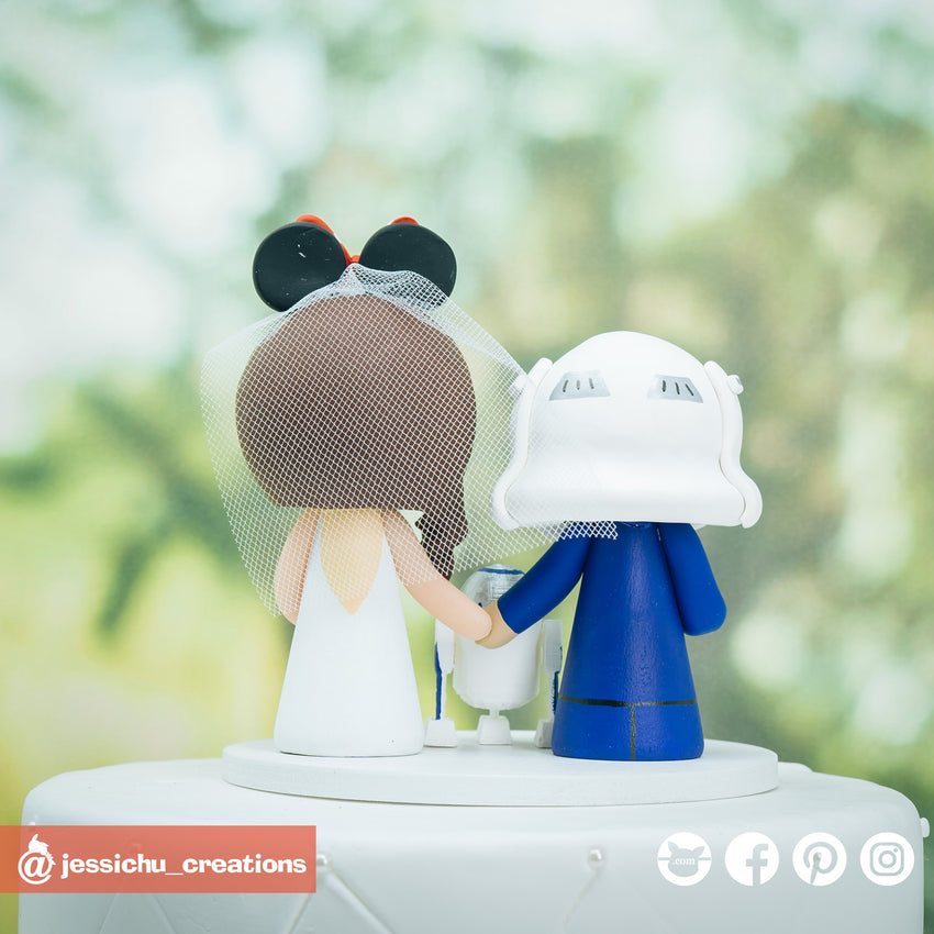 Stormtrooper Groom & Minnie Mouse Bride Inspired Disney x Star Wars Wedding Cake Topper