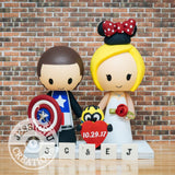 Captain American and Minnie Mouse Wedding Cake Topper | Marvel x Disney | Jessichu Creations