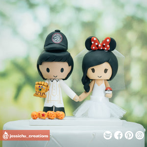 Toronto Raptors Fan & Minnie Mouse | Disney x NBA | Custom Handmade Wedding Cake Topper | Jessichu Creations