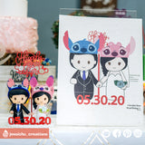 Stitch & Angel | Disney x Lilo and Stitch | Custom Handmade Wedding Cake Topper Figurines | Jessichu Creations