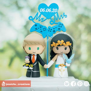 Pokemon Master & Zelda | Custom Handmade Wedding Cake Topper | Jessichu Creations