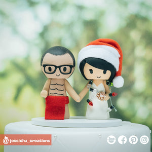 Hawaiian Malo & Christmas Lover | Custom Handmade Wedding Cake Topper | Jessichu Creations