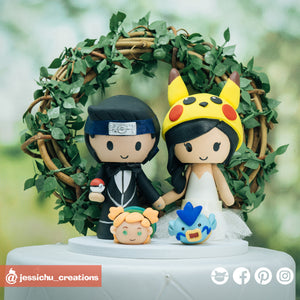 Naruto & Pokemon Pikachu |Custom Handmade Wedding Cake Topper | Jessichu Creations