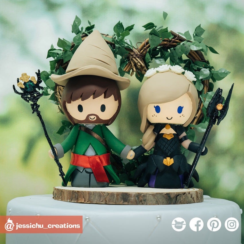FFXIV Black Mage & Dragoon | Final Fantasy | Custom Handmade Wedding Cake Topper | Jessichu Creations