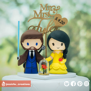 Jedi Musician & Belle | Disney x Beauty and the Beast x Star Wars | Custom Handmade Wedding Cake Topper Figurines | Jessichu Creations