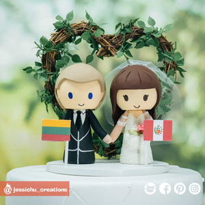 Peruvian Groom & Pregnant Lithuania Bride | Custom Handmade Wedding Cake Topper | Jessichu Creations