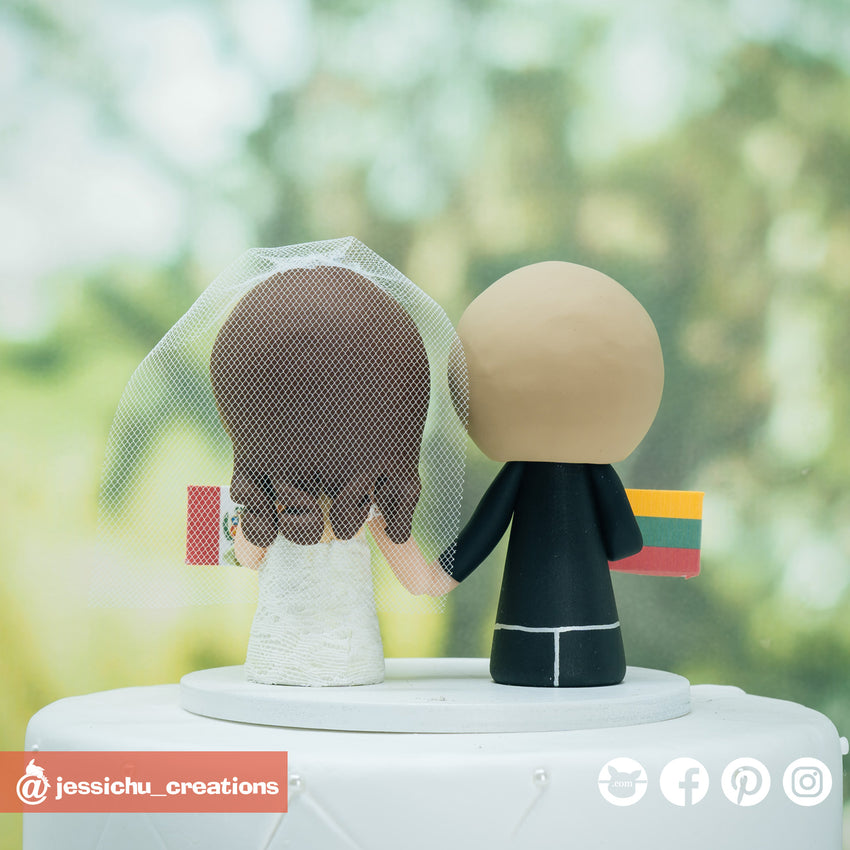 Peruvian Groom & Pregnant Lithuania Bride Custom Wedding Cake Topper Figurines | Wedding Cake Toppers | Cake Topper Gallery | Jessichu Creations
