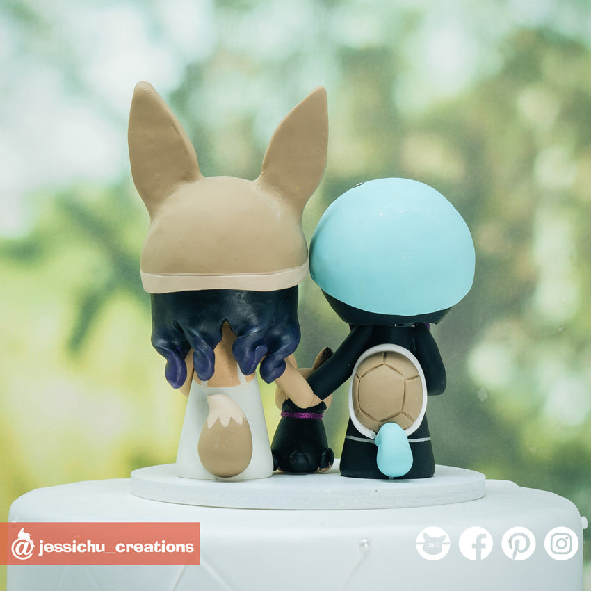 Squirtle & Eevee | Pokemon x Nintendo | Custom Handmade Wedding Cake Topper | Jessichu Creations