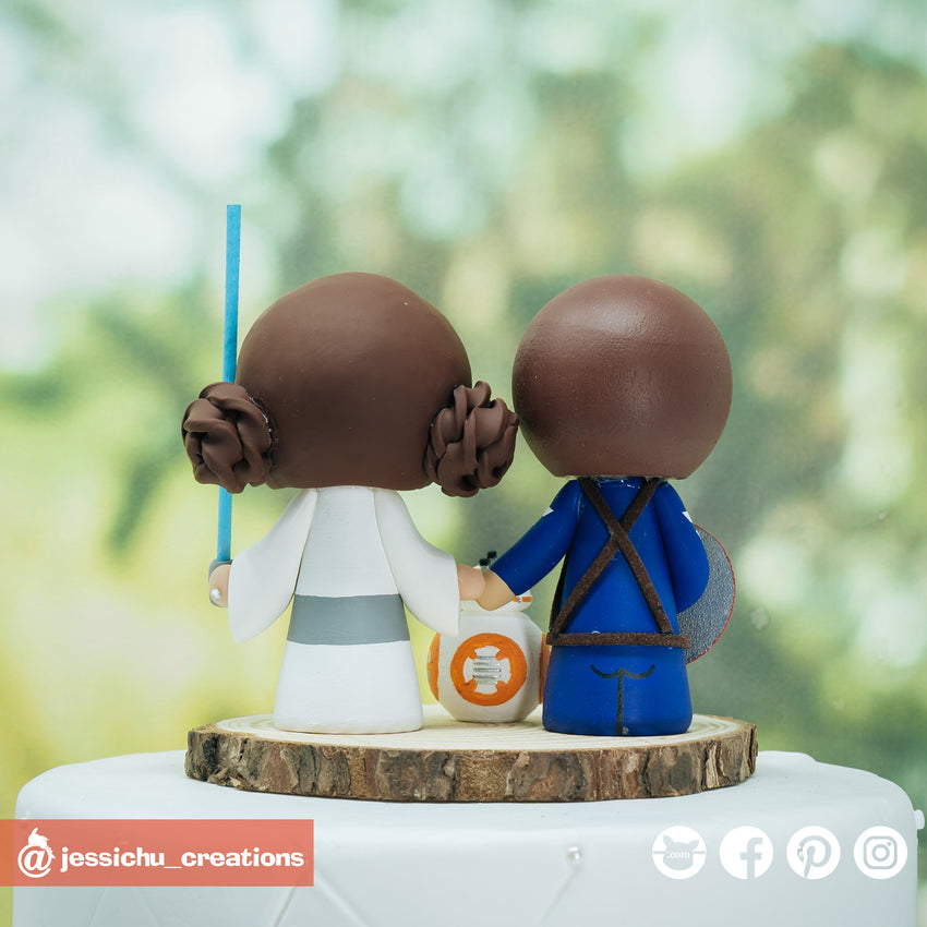 Captain America Groom & Princess Leia Bride Inspired Marvel x Star Wars Custom Made Figurine Wedding Cake Topper | Wedding Cake Toppers | Cake Topper Gallery | Jessichu Creations