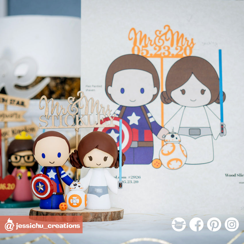 Captain America & Princess Leia | Marvel x Star Wars | Custom Handmade Wedding Cake Topper | Jessichu Creations