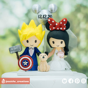 Marvel Fan & Minnie | Disney x Marvel | Custom Handmade Wedding Cake Topper | Jessichu Creations