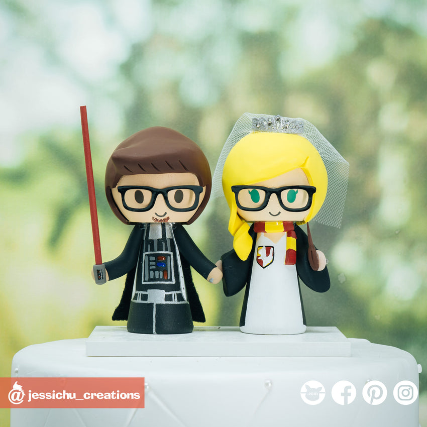 Darth Vader & HP Gryffindor | Star Wars x Harry Potter x GOT | Custom Handmade Wedding Cake Topper | Jessichu Creations