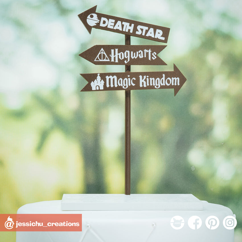Destination Sign | Custom Handmade Wedding Cake Topper Figurines | Jessichu Creations